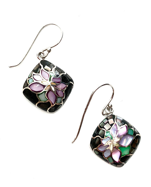 Mediterranean Artists NAOC7187 Sterling Silver Mosaic Dalia Pendant Earring