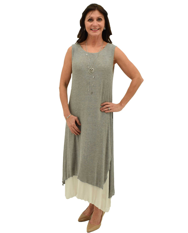 Grey Fenini C43348 Layered Dress sleeveless long with lightweight grey material layered with white