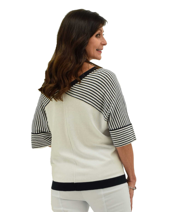Back of White Tribal 3258O6016 Doleman Stripe Sweater 3/4 sleeves with black and white stripes