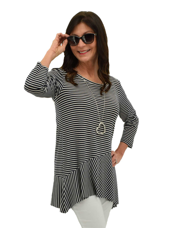 Ink navy Tribal 331302629 3/4 Sleeve Stripe Top loose fitting comfortable navy and white striped