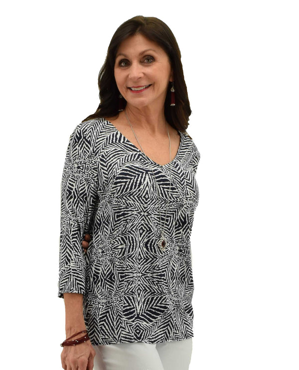 Navy Tribal Print V-Neck Tee with 3/4 sleeves and navy tribal print on the front and back