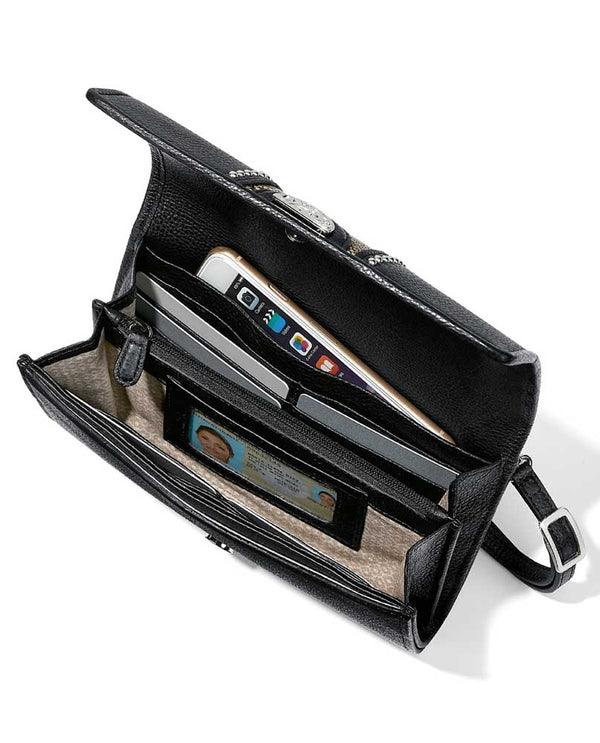 Snake print-black Brighton T43933 Pretty Tough Small Organizer with card slots and crossbody