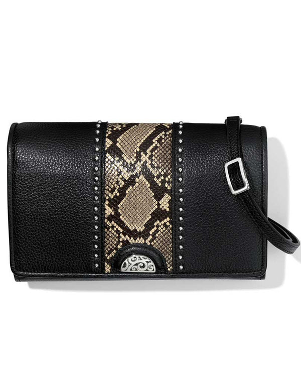 Snake print-black Brighton T43933 Pretty Tough Small Organizer with black leather and snakeskin
