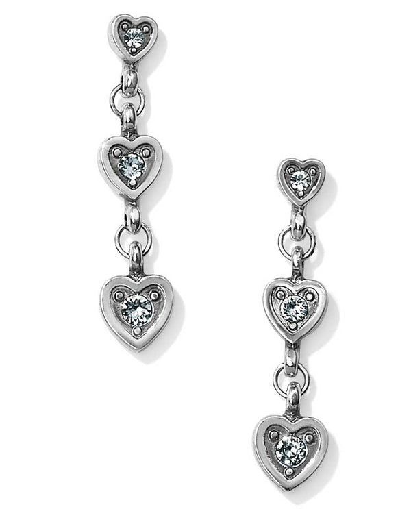 silver Brighton JA4611 Meridian Love Notes Post Drop Earrings made with three Swarovski hearts