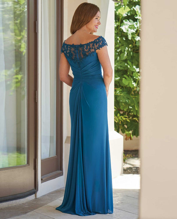 Night blue Jade Jasmine J215013 long Stretch Illusion & Lace Dress mother of the bride dress