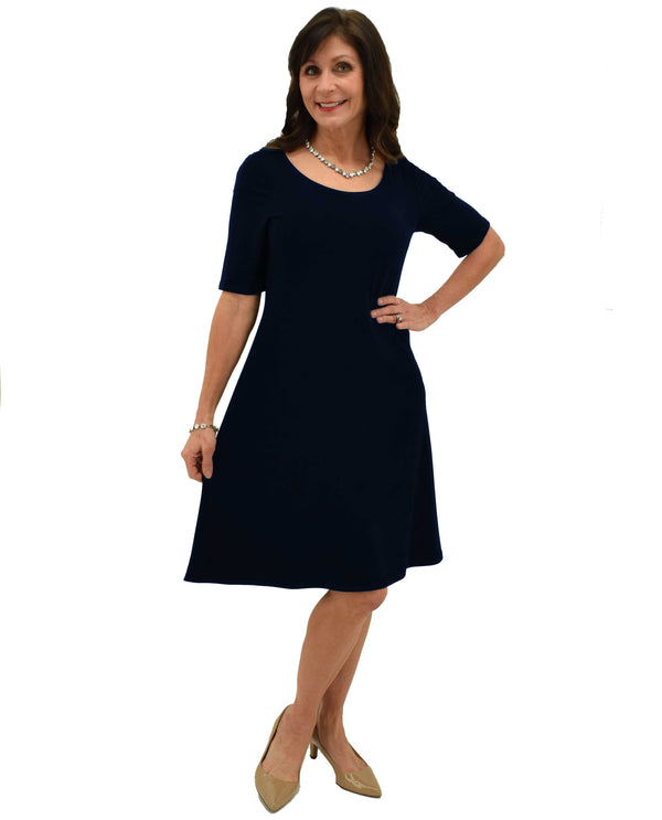 Navy Michael Tyler SA7560 Short Sleeve Dress made with sweat resistant material and knee length