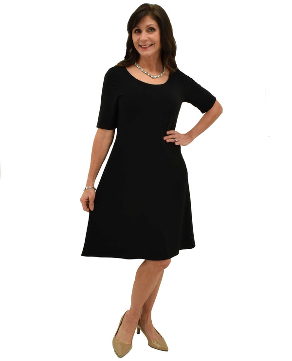 Black Michael Tyler SA7560 Short Sleeve Dress made with sweat resistant material and knee length
