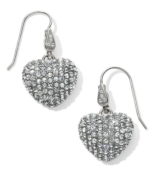 Silver Brighton JA4621 Love Is All You Need French Wire Earrings covered in Swarovski