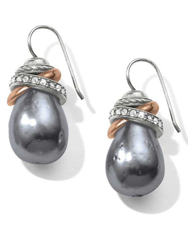 Gray Brighton JA365H Neptune's Rings Gray Pearl French Wire Earrings topped with mixed metal rings
