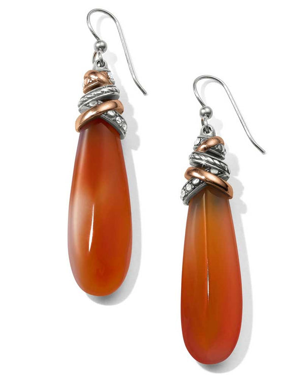Orange Brighton JA405G Neptune's Rings Pyramid Carnelian French Wire Earrings