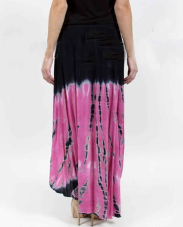 Vocal 12368SK fuschia Hi Lo Skirt blue and pink tie dye flared high low skirt