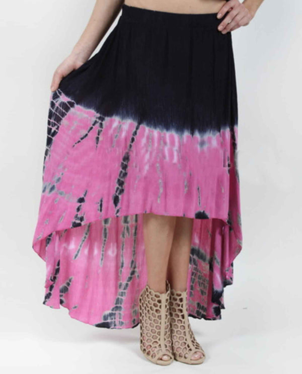 Vocal 12368SK fuschia Hi Lo Skirt tie dye flared high low skirt with blue and pink hues