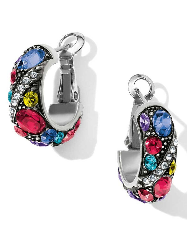 Silver multi Brighton JA4773 Trust Your Journey Hoop Earrings small hoops in colorful Swarovski