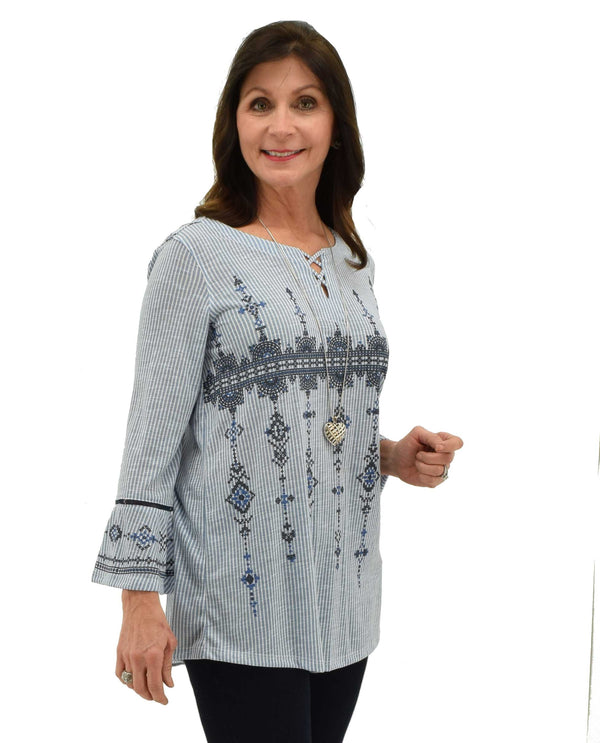 Multi Multiples 19515TM 3/4 Flounce Sleeve Top with blue and white stripes and exotic pattern