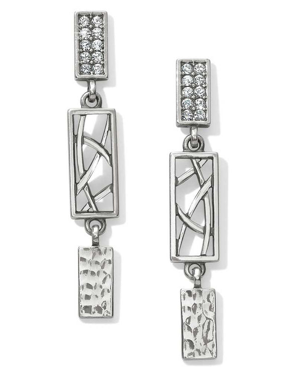 Silver Brighton JA4601 Meridian Zenith Post Drop Earrings with pave Swarovski and hammered silver