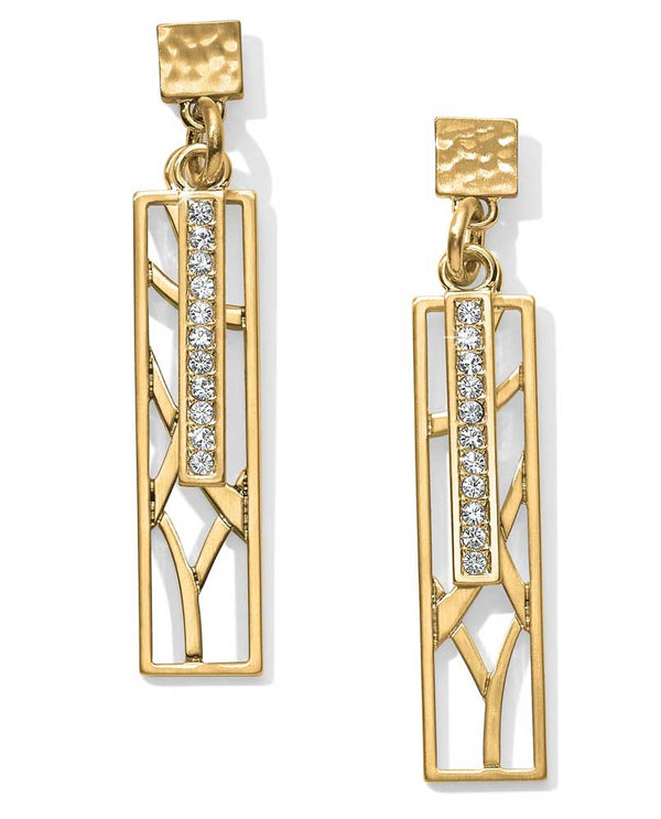 Gold Brighton JA4605 Meridian Zenith Long Post Drop Earrings with Swarovski bar in the center