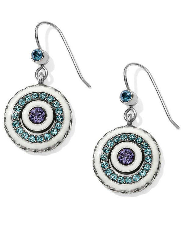 Silver white Brighton JA3622 Halo Light French Wire Earrings with blue and purple Swarovski