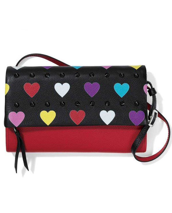Black multi Brighton T43953 Crazy Love Bright Flap Organizer with colorful hearts and red leather