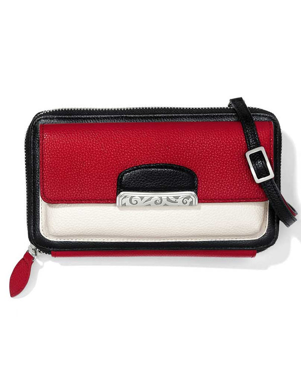Red mutli Brighton T35117 Cachet Organizer Wallet doubles as a crossbody and clutch