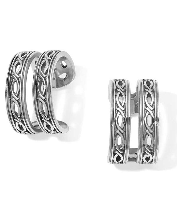 Silver Brighton JA4720 Ferrara Equestra Hoop Earrings with airy double hoop design