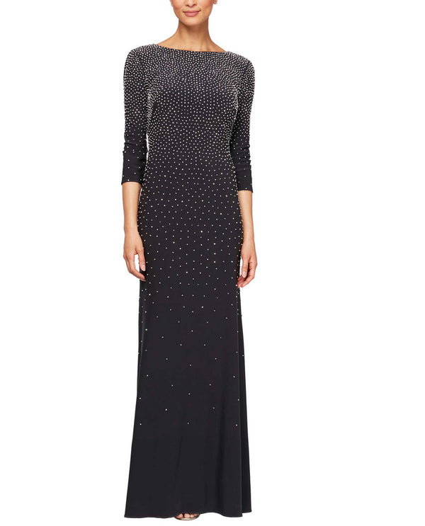 Alex Evenings 81351474 Studded A-Line 3/4 Sleeve Dress Smoke