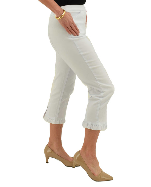Side White Tribal 3279O-803G Capri with Ruffle Hem stretchy pull on capri with front pocket