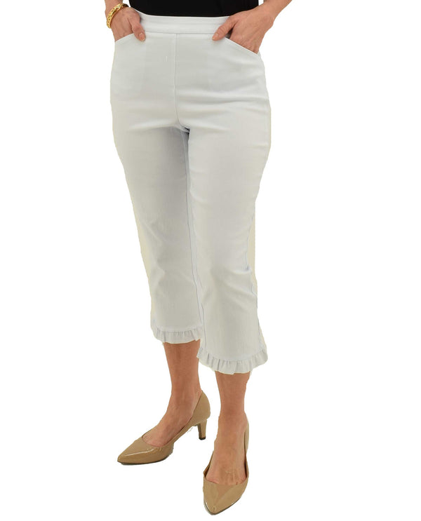 White Tribal 3279O-803G Capri with Ruffle Hem stretchy pull on capri with front pocket