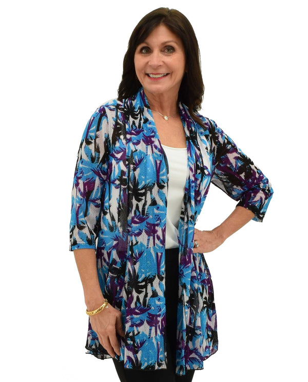 Turquoise Printed Mesh Cardigan lightweight with 3/4 sleeves and tropical palm tree print