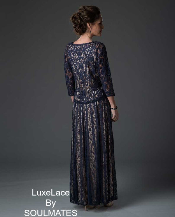 Navy Soul Mates 1610 Soutache Lace 3/4 Sleeve Top With Circle Skirt three piece skirt set
