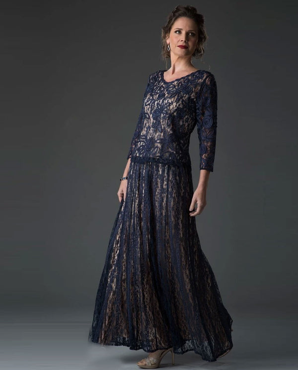Soulmates 1610X Soutache Lace 3/4 Sleeve Dress Navy