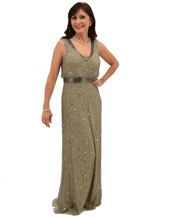 Beige Adrianna Papell 1E204724 Sleeveless V-Neck Beaded Gown with deep v-neck and sparkly beading