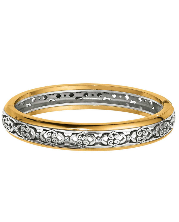 Silver-gold Brighton JF5862 Intrigue Narrow Hinged Bangle with feminine filigree design