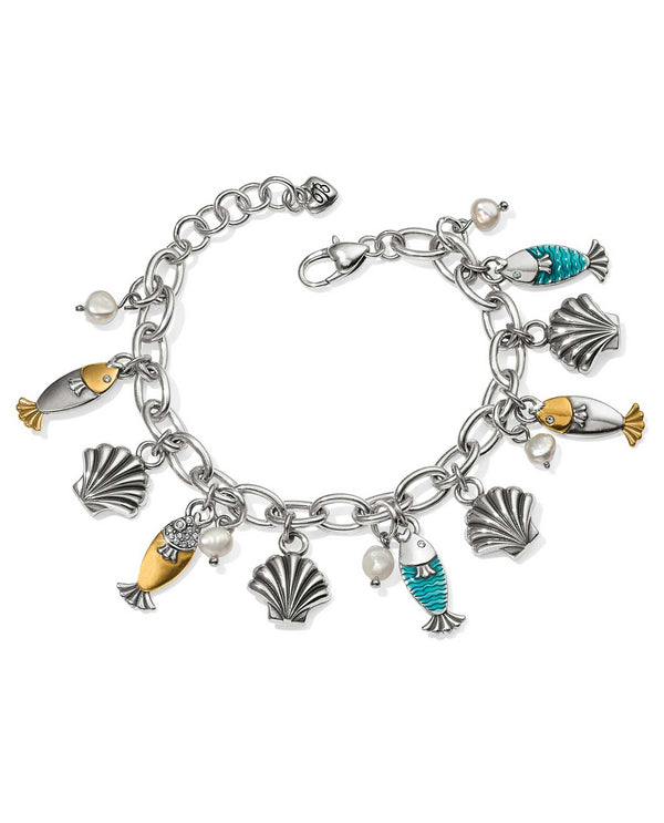 JF5933 Silver multi Brighton Ocean Dream Charm Bracelet with fish charms and pearl charms