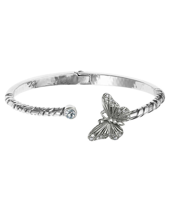 Silver Brighton JF5901 Solstice Butterfly Hinged Bangle with Swarovski butterfly on your wrist