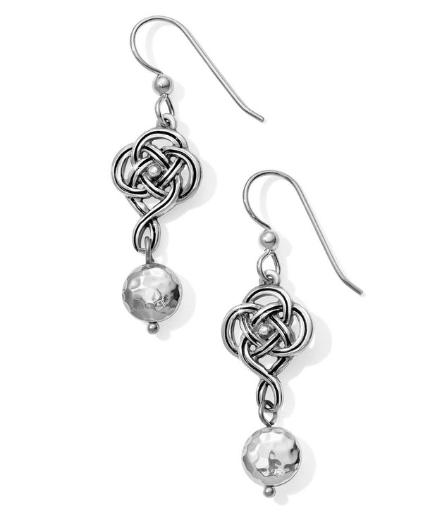 Silver Brighton JA4680 Interlok Knot French Wire Earrings with Celtic knot hanging by beads