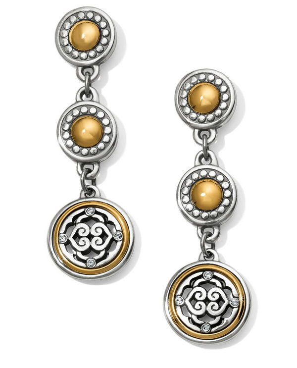 Silver gold Brighton JA4662 Intrigue Post Drop Earrings with three mixed metal round drops