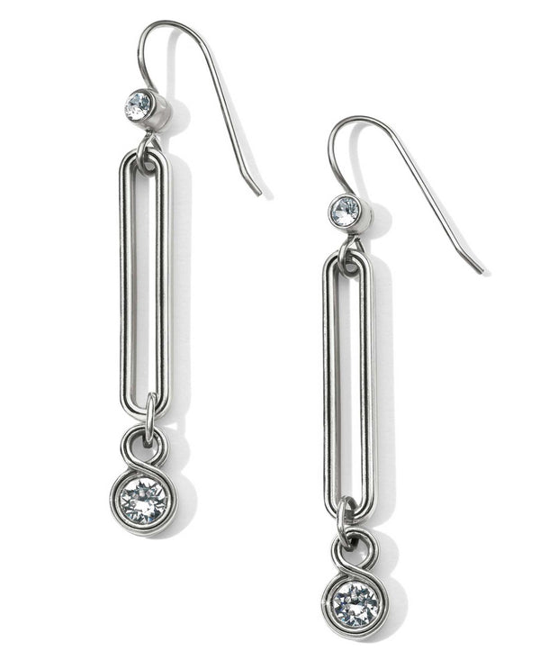 Silver Brighton JA4691 Infinity Sparkle Link French Wire Earrings with small Swarovski crystals