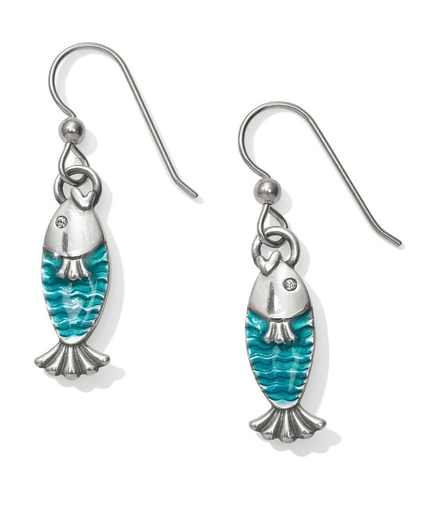 JA4743 Silver turquoise Brighton Ocean Dream Fish French Wire Earrings with scales and Swarovski
