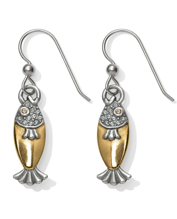 JA4732 Brighton Ocean Dream Fish French Wire Earrings gold fish earrings with Swarovski