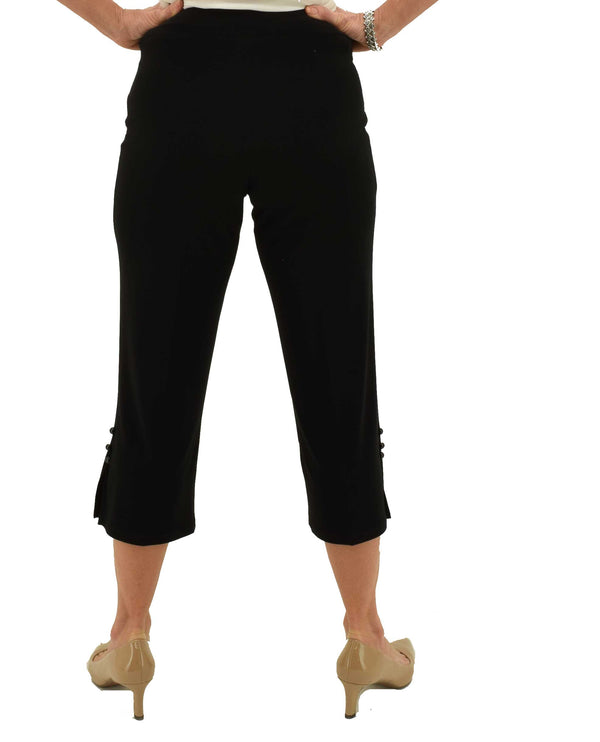Black Michael Tyler 3 Button Crop Pant with elastic waist and flared bottoms with buttons