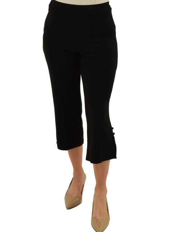 Black Michael Tyler 3 Button Crop Pant with elastic waist and slightly flared bottoms