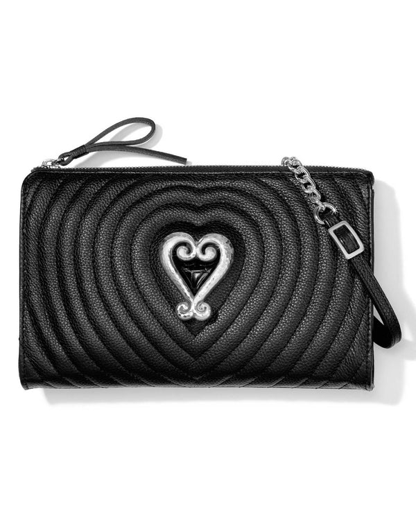 Black Brighton E58823 Puffy Love Quilted Cross Body made of quilted leather and has a heart