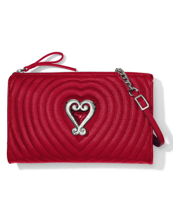Lipstick Brighton E58827 Puffy Love Quilted Cross Body has rows of leather quilting with a heart