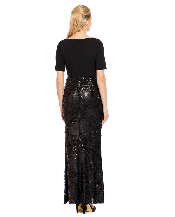 Black Adrianna Papell AP1E205644 Floral Sequin Column Dress With Short Sleeves and sequins