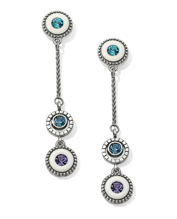 Silver white Brighton JA4781 Halo Light Post Drop Earrings with blue Swarovski on white enamel