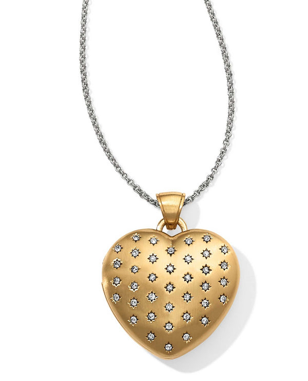 Gold Brighton JL9773 Sweetheart Convertible Locket Necklace with tiny Swarovski crystals