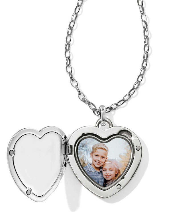 Silver Brighton JL9840 Contempo Convertible Locket Necklace with heart shaped photo frame