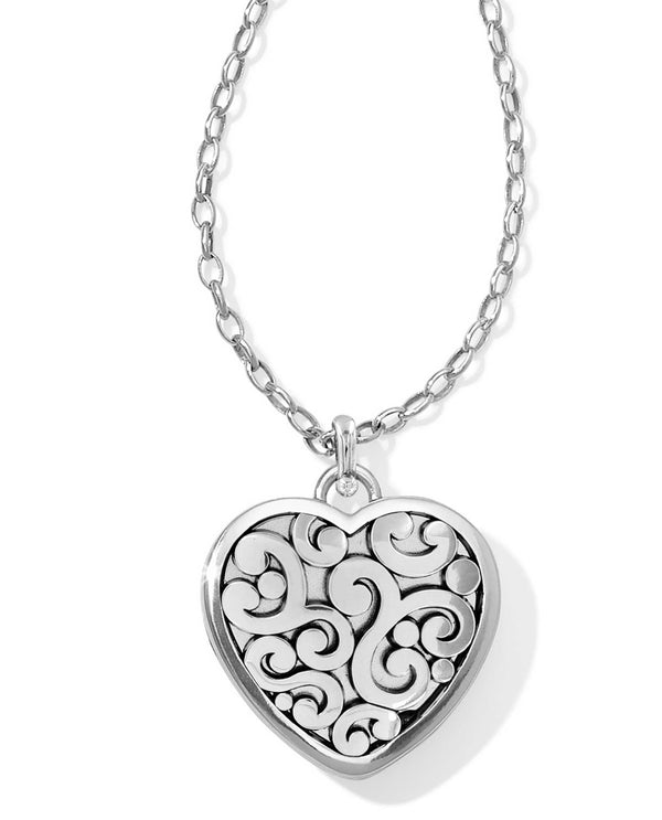 Silver Brighton JL9840 Contempo Convertible Locket Necklace with engraved heart swirled design
