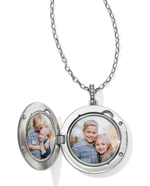 Silver Brighton JL9851 Contempo Ice Starburst Convertible Locket Necklace holds two photos