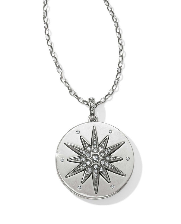 Silver Brighton JL9851 Contempo Ice Starburst Convertible Locket Necklace with Swarovski starburst